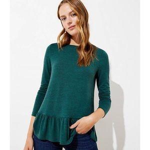 LOFT Jade Green Textured Long Sleeve Peplum Top